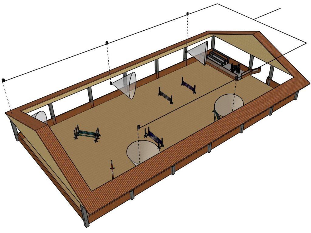 3D modell av paddock med ljudanläggning