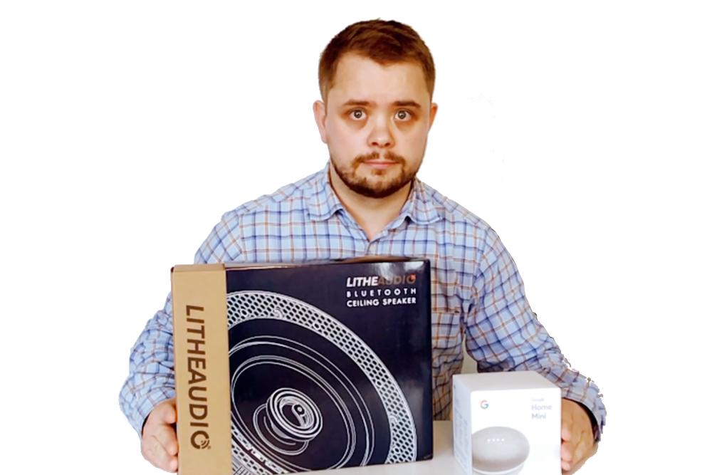 Google Home Mini och Lithe Audio Högtalare
